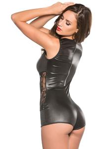 Черный Полюс Танцующий Bodysuit Lace V Шея Кожа PU Sexy Club Top