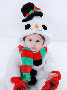 Снеговик Kigurumi Pajamas Малыши Onesie White Flannel Kids Зимний комбинезон Хэллоуин
