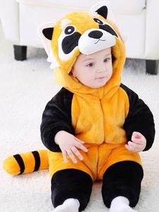 Малыши Raccoon Pajamas Kigurumi Onesie Оранжевый фланель-комбинезон для детей Хэллоуин
