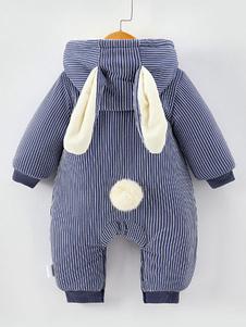 Детские малыши Bunny Pajamas Kigurumi Onesie Полосатый зимний комбинезон для детей Хэллоуин