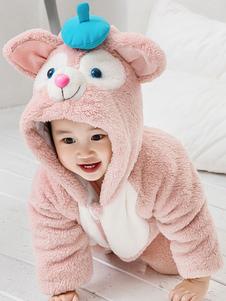 Розовые кошки Kigurumi Pajamas Toddler Onesie Flannel Kids Зимний комбинезон Хэллоуин