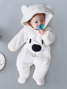 Медвежья пижама Kigurumi Onesie Детские малыши Белый фланель-комбинезон для детей Хэллоуин