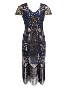 Платье с капюшоном 1920-х годов Великий костюм Гэтсби Хэллоуин Vintage Women Sequin Tassels Dresses