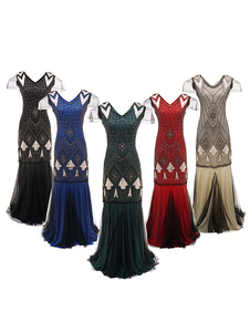 1920-е годы Great Gatsby Костюм Flapper Dress Halloween Vintage Women Tulle Sequin Maxi Dresses Хэллоуин