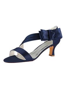 الساتان أحذية الزفاف الظلام البحرية المفتوحة تو القوس هريرة كعب الأم الأحذية2020