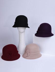 Chapéu de lã cloche chapéu de feltro de inverno mulheres retrô chapéu de feltro Halloween