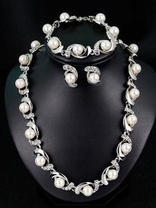 مجموعة مجوهرات الزفاف اللؤلؤ مجموعة أحجار الراين خمر الأقراط سوار الزفاف قلادة مجموعة 3 قطعة