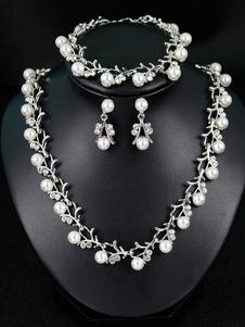 Conjunto de joyas de perlas de boda Rhinestones Pulsera nupcial Vintage Conjunto de collar