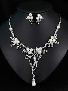 Juego de joyas de perlas para boda Conjunto de collar de aretes de novia de plata vintage