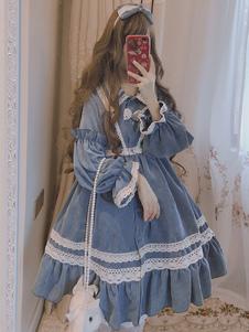 Abito classico Lolita OP in velluto a coste con pieghe in pizzo
