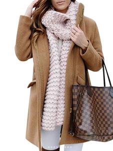 Cappotto di lana a maniche lunghe con zip a manica lunga per donna