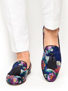 Zapatillas Azules Para Hombres Satín Punta Redonda Bordadas Slip On Zapatos Casuales Zapatos De Negocios