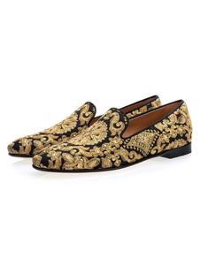 Золотой Мужчины Loafers Круглый Toe Вышитый Slip на Обувь Пром Обувь
