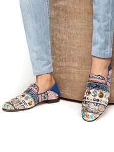 Zapatillas Azules Para Hombres Punta Redonda Bordadas Etnicas Slip On Zapatos Casuales