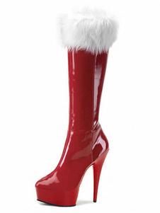 Stivali Rossi 2020 Sexy Stivali da Donna Piattaforma di Pelliccia di Mandorle Dettaglio Scarpe Tacco Alto Scarpe Invernali