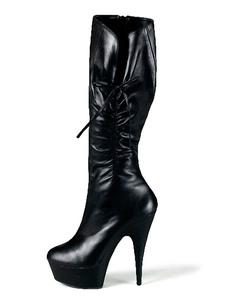 Stivali sexy neri Stivali piattaforma alti al ginocchio increspati con mandorle