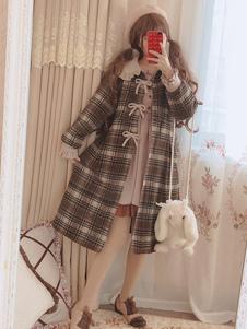 Abrigo de Lolita clásico abrigo de lana lolita a cuadros con volantes a cuadros marrón