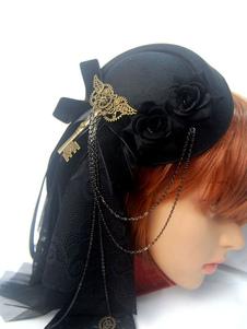 Steampunk Lolita Accessorio per capelli Lolita nero con fiocco in metallo