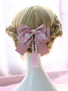 Lolita copricapo in stile cinese stampa nappa fiocco rosa accessorio per capelli lolita