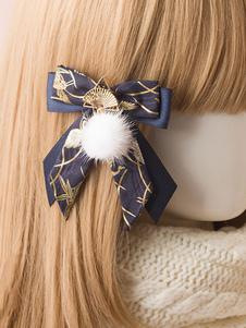 Kimono Lolita Clip per capelli Pom Pom Bow Fan Blue Lolita Hairpin