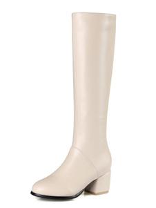 Белые колено высокие сапоги Женщины Круглый Toe Короткие пятки Зимняя обувь