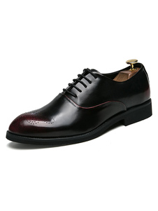 Homens Oxford sapatos Borgonha apontou Toe Lace Up sapatos de sapatos de negócios