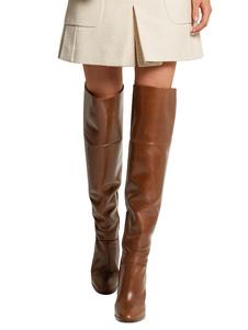 Botas altas mujer Marrón Zapatos de PU de tacón gordo de puntera redonda 12cm Color liso Otoño Primavera para fiesta estilo moderno