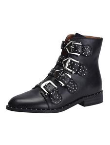 Homens Botas de motociclista Couro Toe Fivela Detalhe Ankle Boots Botas Pretas
