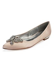 Zapatos de novia de satén 2cm Zapatos de Fiesta Zapatos Color champaña Plana Zapatos de boda de puntera puntiaguada con mariposa
