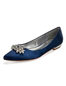 Zapatos de novia de satén 2cm Zapatos de Fiesta Zapatos Azul marino oscuro Plana Zapatos de boda de puntera puntiaguada con pedrería