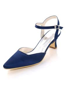 الأم من أحذية العروس الظلام البحرية أشار اصبع القدم مشبك التفاصيل الكعب هريرة زفاف الزوار الأحذية
