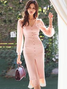 Vestito aderente rosa Abito manica lunga con scollo a V e scollo a V a forma di mezzaluna