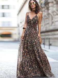 Leopardo Maxi Dress Straps Backless Sexy Vestido Longo