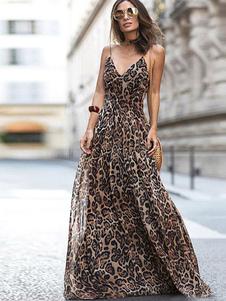 Vestido largo Marrón Moda Mujer sin mangas de poliéster Vestidos de dibujos de leopardo con tirantes estilo moderno Verano