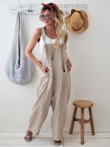 Macacão de pernas largas de algodão macacão de macacão de mulheres com bolsos