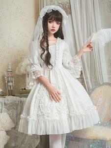 Свадебное платье Lolita OP Платье из кружева из жаккарда White Lolita One Piece Dress