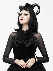 Disfraz Carnaval Disfraz gótico top negro mujer manga larga trajes vintage Halloween Carnaval