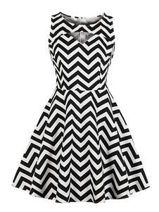 Vestido negro vintage sin mangas recortado zigzag patrón vestido de oscilación