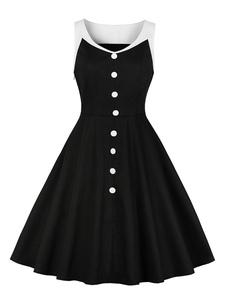 Vestido vintage preto sem mangas em volta do pescoço dois tons Swing Retro vestido