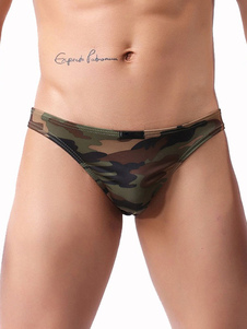Homens Nylon Breve Camo Imprimir Hunter Green Panty