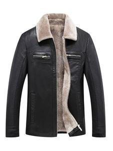 Giacca in pelle da uomo Fodera in peluche con collo Borg Colletto con cerniera Plus giacca invernale PU