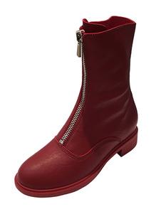 Botas De Tornozelo 2020 Para Mulheres Toe Rodada De Borgonha Com Zíper Botinhas Planas