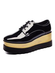 Zapatos casuales de mujer con punta cuadrada negra y zapatillas con cordones