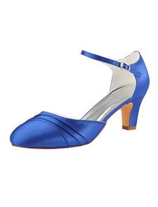 Sapatos De Casamento 2020 De Cetim Azul Royal Rodada Toe Fivela Detalhe Do Vintage Sapatos De Noiva Mãe
