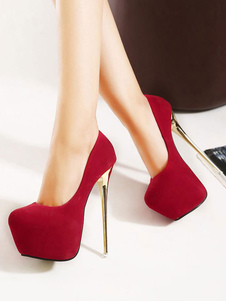 Sexy High Heels Women Red Platform Stiletto Heel Slip On Pumps
