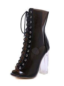 Stivaletti con sandalo nero Stivaletti con tacco a punta e tacco alto Stivaletti da donna