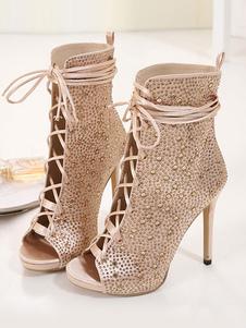 Stivaletti con tacco alto Stivaletti con peep toe in oro con lacci e strass per le donne
