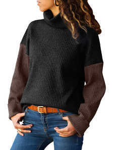 Mulheres Casual Camisola Turtleneck Color Block Knit Pullover Top
