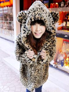 Leopard Faux Fur Coat Women Cappotto invernale soffice con cappuccio con code di orecchie di gatto