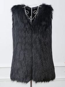 Black Faux Fur Vest Mulheres V Neck mangas casaco